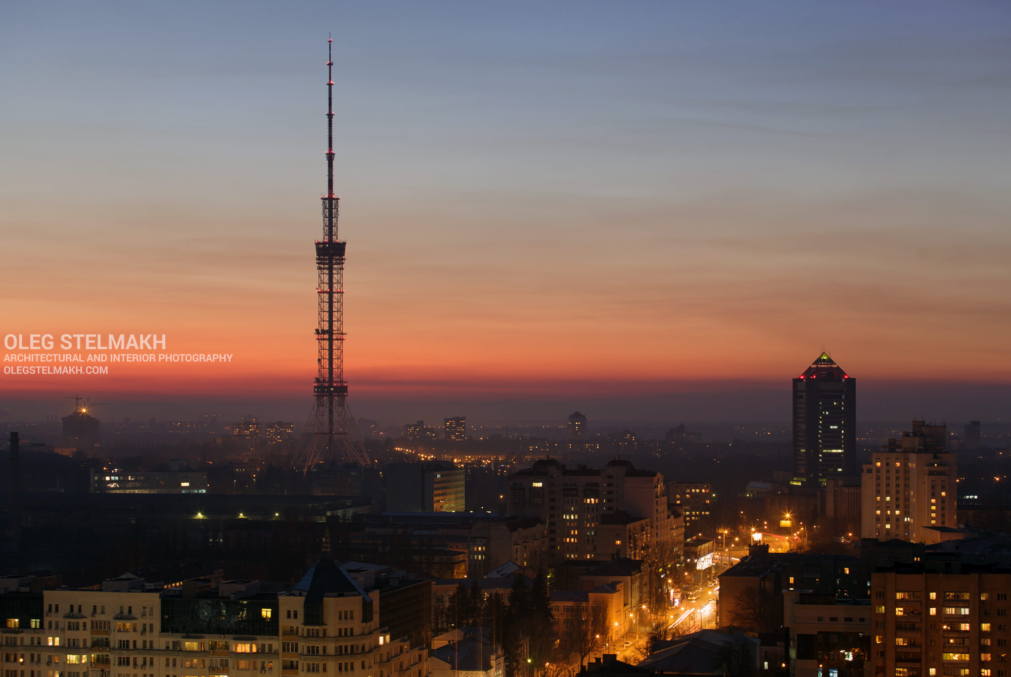 Ночной Киев. Телевизионная башня