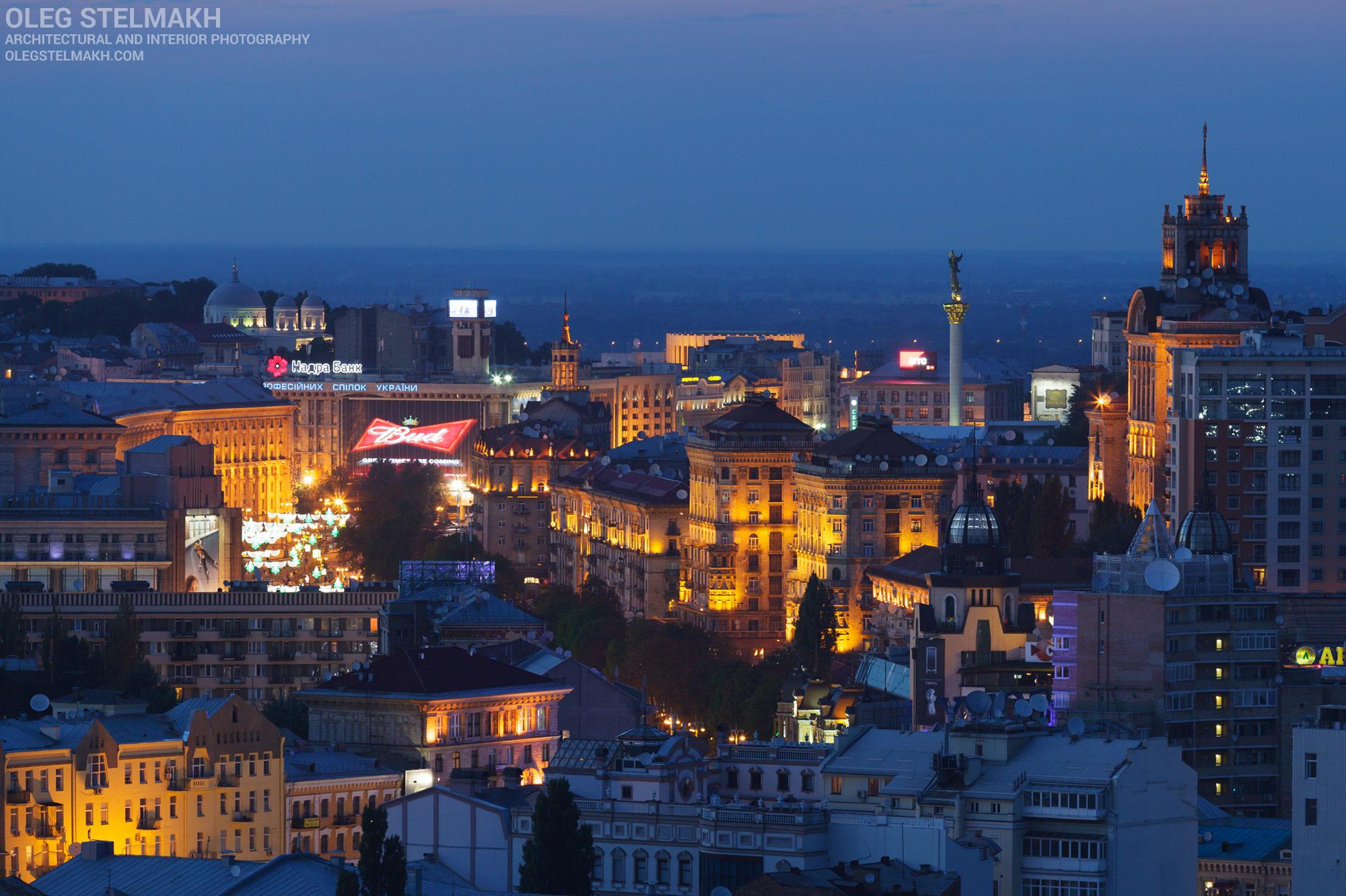 Ночной Киев. Вид на Крещатик