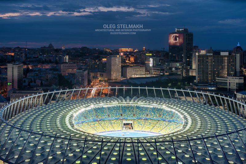 Ночной Киев. НСК Олимпийский на закате